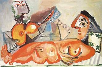 Picasso - Nu couché et homme jouant de la guitare, 1970
