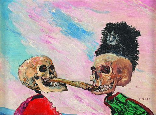Ensor - Squelette se disputant un hareng saur, 1891