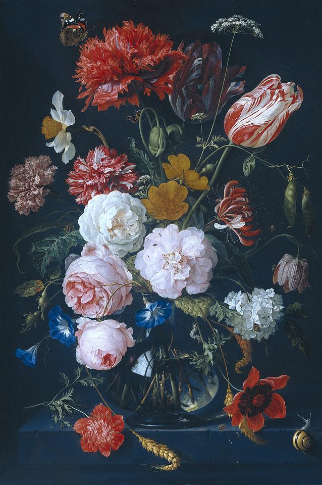 De Heem - Nature morte avec fleurs dans un verre