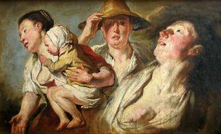 Jordaens - Trois femmes et un enfant, esquisse pour L'été et pour Le bac, vers 1623